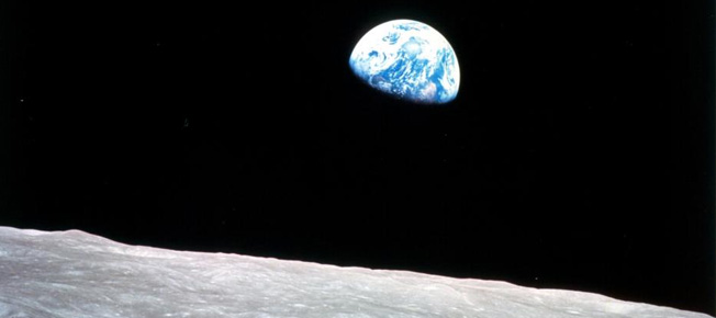 """Earthrise"" by astronaut William Anders, image credit NASA, December 24, 1968"